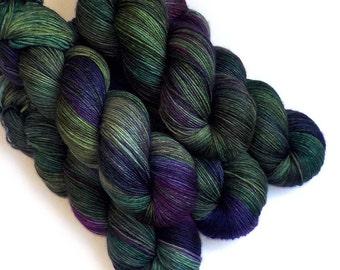 Sock Yarn Handdyed Merino Cashmere Nylon Yarn - Purple Pines, 430 yards