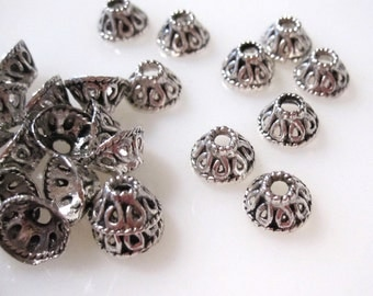 50% Off Bead Caps, 20 Bead Caps, Antique Silver Filigree, 8x4mm with a 2.75mm hole BC0107