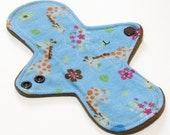 """Reusable Cloth Menstrual pad- 8 inch LIGHT flow pantyliner-bamboo/organic cotton core- Windpro - cotton flannel in """"Giraffes"""""""