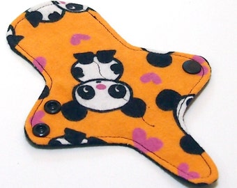 ULTRATHIN Reusable Thongliner Cotton Flannel Mini Pad with wings for Every Day - Washable Cotton Flannel - Orange Panda