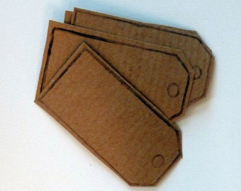 SUMMER SALE Set of 10 hand printed parcel tag kraft paper stickers in kraft brown.  Self adhesive labels, gift tags, bookplates, packaging,