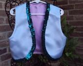 Shimmer and Shine Genie vest, Halloween costume, aqua satin vest with teal sequin trim