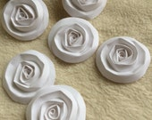 Scrapbook Flowers...6 Piece Set of Very Pretty and Elegant White Scrapbook Paper Flower Rolled Roses