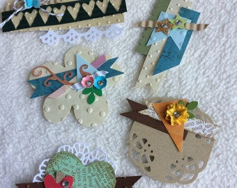 Scrapbook Embellishments...5 Piece Set of Very Cute and Charming Clustered Handmade Card/Scrapbook Embellishments