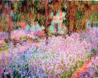 Monet Painting Print Monet's Garden Ready to Hang Museum Quality Painterly Texture NEW!