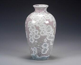 Porcelain Vase - Purple, White - Crystalline Glaze - Hand Made Pottery - FREE SHIPPING - #A-1-4221