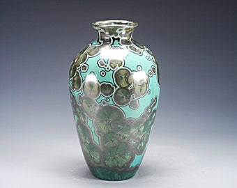 Ceramic Vase - Green, Black, Malachite - Crystalline Glaze on High-Fired Porcelain - Hand Made Pottery - FREE SHIPPING - #A-1-4421