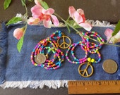 LSD, Peace Sign Necklace, Hippie Love Beads, Made To Order, Psychedelic Beads, Seed Bead Necklace, Hippie Necklace, Peace Sign, Love Beads