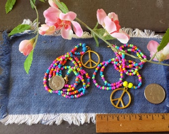 LSD, Psychedelic Necklace, Made To Order, Hippie Love Beads, Peace Sign Necklace, Seed Bead Necklace, Woodstock, Summer of Love, Coachella