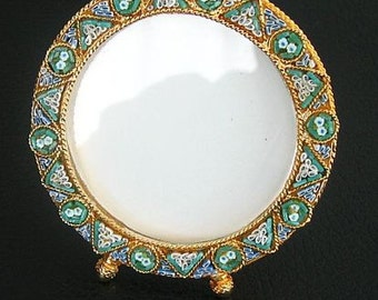 Vintage Micro mosaic Round Picture Frame No 3 New Old Stock Pristine Rare