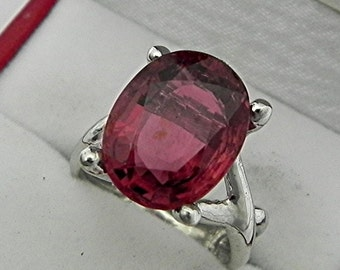 AAAA Rubellite Tourmaline 12x12mm 5.88 Carats 14K White gold gold - ELKE- ring 0729