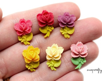 12pc SAMPLER set resin rose cabochons / 6 pairs mini roses for diy stud earrings +embellishments / flat back cabs pink coral red lilac ivory