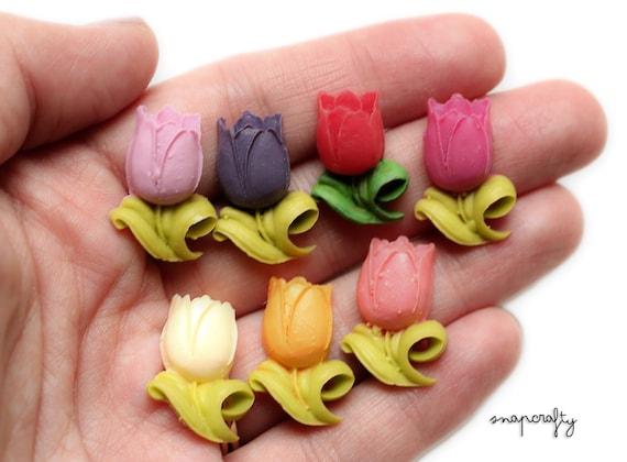 14pc SAMPLER resin tulip resin flower cabochon set / 17x24mm / diy stud earrings hairpin / flat back embellishments / pastel resin flowers