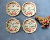 Vintage Rose Hill Dairy Milk Bottle Caps, Georgia, Ephemera, Retro Kitchen, Farm, Cow Ephemera