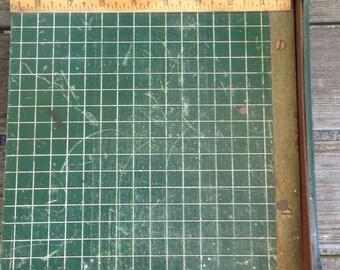VINTAGE PAPER CUTTER, green wood, metal, small, schoolroom, office, industrial, Dandy