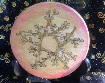 Made to Order Yule Altar Tile Mistletoe Pentagram