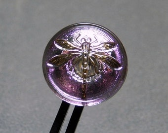 Pink with Gold Dragonfly 18mm Glass Round Button with Brass Shank (1)