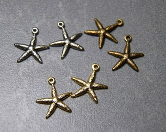 Starfish Charm Pendant with loop Choose Gold, Silver or Brass  13mm  (4)