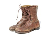 Size 11.5 Men's Distressed Brown Leather Combat Boots