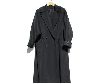 Vintage Black Pure Wool Coat / Oversized Bat wing Sleeve Coat