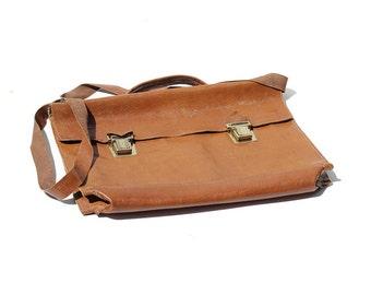 Copper Brown Leather Fold Folio Attach Briefcase