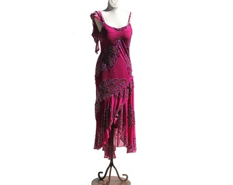 Nocturne Embellished Floral Fuchsia Silk Sequin & Beads Dress