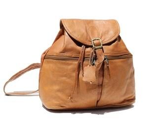 Tan Leather Backpack Bag