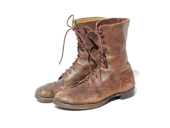 size 11 5 s distressed brown leather combat boots