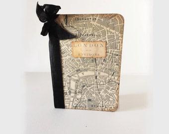 Mini London Travel Journal,Map Jotter, Vacation, London Streets Journal, Planner, Wedding Favor Journal, Honeymoon Jotter, Ancient Map