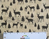 DEER SILHOUETTE Tan/Black Small Scale Quilt Fabric by the Yard, Half Yard, or Fat Quarter Fq Buck Antlers Adirondack Crossing