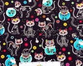 Day of the Dead KITTY CATS BLACK Skeletons Cotton Quilt Fabric by Yard, Half Yard, or Fat Quarter Fq Dias de los Muertos Mexican Holiday Cat