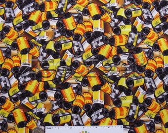 Rare KODAK FILM Canisters Retro Photography Photograph 100% Cotton Quilting Weight Fabric Remnant 35mm CAMERA