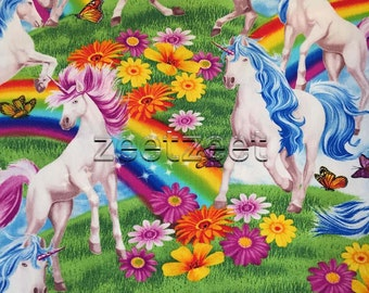 """1.3 Yards Rare UNICORNS & RAINBOWS Quilt Fabric Mythical Creatures Children Kids Rainbows Butterflies Flowers - 1 Yd and 13"""" Last Remnant"""