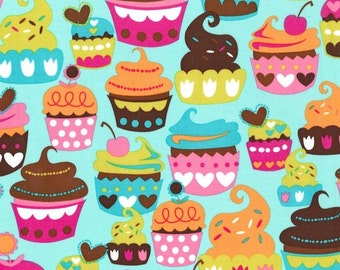 SWEET TREATS Turq Turquoise Pink CUPCAKE Cupcakes Cake Birthday Cotton Quilt Fabric - by the Yard, half Yard, or Fat Quarter
