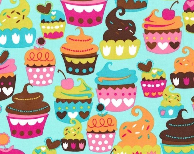 "SWEET TREATS Turq Turquoise Pink CUPCAKE Cupcakes Cake Birthday Cotton Quilt Fabric - Precut Remnants 20""L x 45""W,  Fat Quarter"