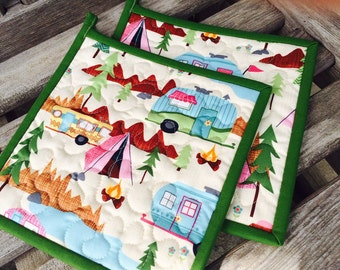 Quilted Pot Holders, Camping Pot Holders,  Retro Potholders, Gifts under 20 Dollars, Set of 2 Hotpads, Pot Holder, Hostess Gift
