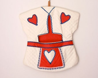 Vintage clothespin bag red white and blue rick rack
