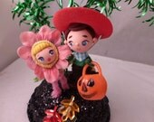 On Hold for Kasey One OOAK Retro Vintage Inspired Halloween Trick or Treat Kids Decoration Centerpiece