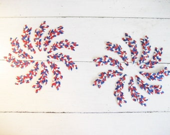 Set of 20 Red, White and Blue Feather Iron On Patches Appliques