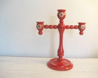Vintage Painted Wooden Spindle Candelabra- Red, Daisy, Folk Art - Made in Sweden