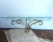 Hollywood Regency glass and metal twisted rope gilt gilded shelf LAST ONE