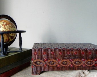 Vintage pyrography card box desk organizer holder wood decorative