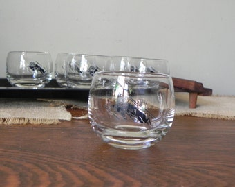 Vintage drinking glasses role poly black on clear rams goats drinking glasses black and teak tray -mid century modern swanky los angeles