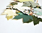 Paper Leaves {50+} Small Maple Rescued Magazines Mixed Eco-friendly Confetti Embellishments Scrapbooking DIY Supplies Christmas In July