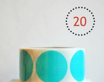 SALE Teal Blue {20} Large {2.0inch or 50mm} Circle Envelope Seals Stickers Children Party Contemporary Wrap Baby Announcement DIY Supplies