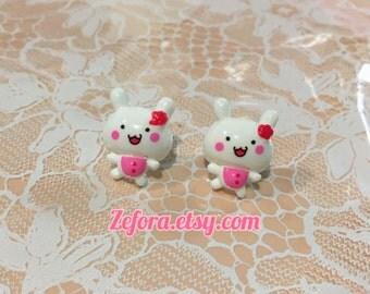 Kawaii Bunny White Stud Earrings