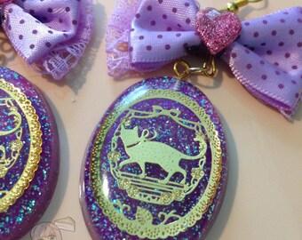Golden Romantic Cat Silhouette Oval Purple Glitter Pendant Bow Earrings