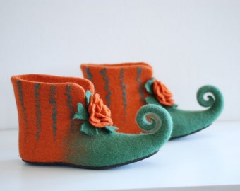 Fairy shoes felted home slippers in green/ orange  with rose can be made in custom colors HANDMADE TO ORDER