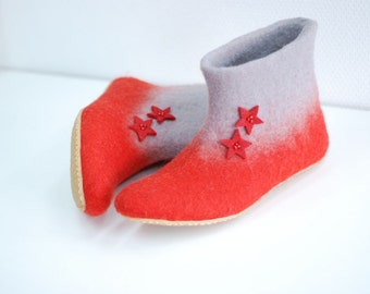 Felted slippers Alice in red and grey with stars CUSTOM MADE any colors and sizes