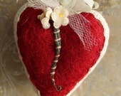 Dreamy Red Heart Valentine - Sweet Handmade Wool Valentine Heart Decoration - Red Needle Felted Heart with Vintage Trims